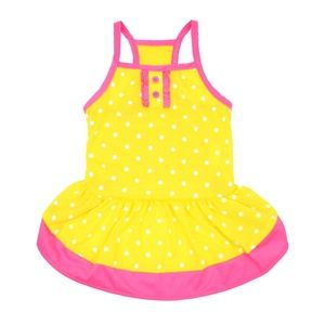 Vibrant Life Yellow Polka Dot Dog Dress, XX-Small